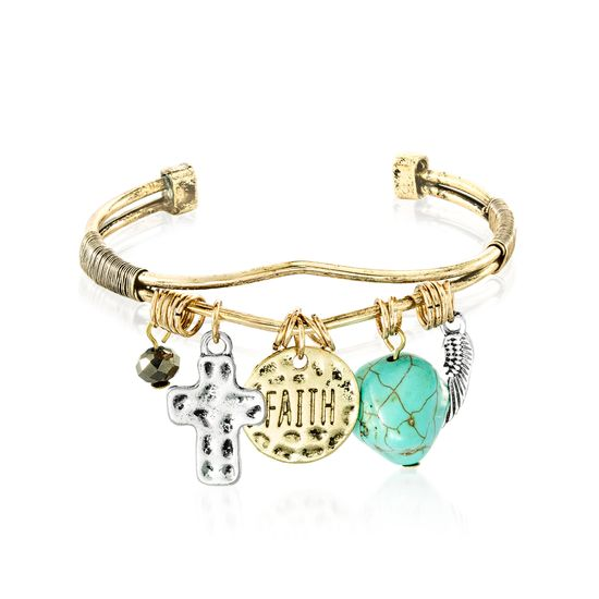 Imagen de Gold-Tone Alloy Dangling Faith Cross Turquoise Feather Charms Open Cuff Bangle