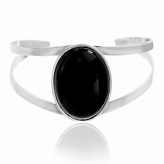 Imagen de Silver-Tone Alloy Black Stone Double-Strand Cuff Bangle