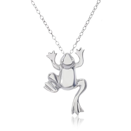 Imagen de Sterling Silver Polished Frog Pendant Cable Chain Necklace