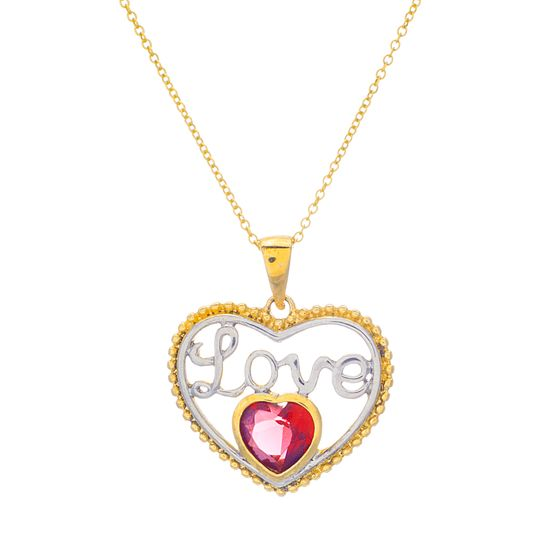 Imagen de Two-Tone Sterling Silver LOVE Plate with Glass Necklace