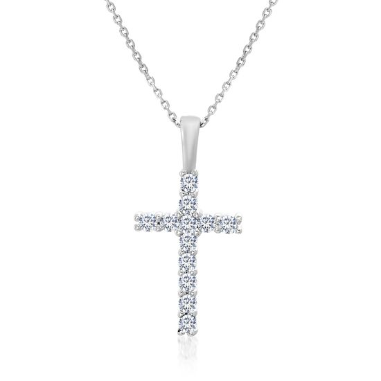 Imagen de Sterling Silver Cubic Zirconia Cross Pendant on Cable Chain Necklace
