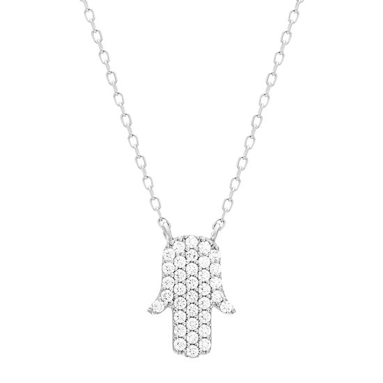 Imagen de Sterling Silver Cubic Zirconia Pave Hamsa Cable Chain Necklace