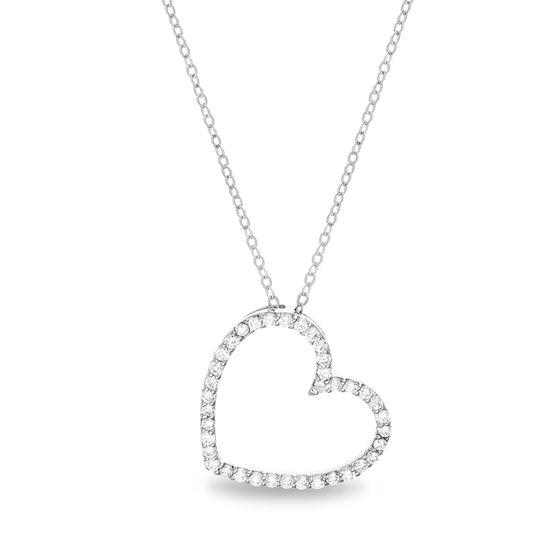 Imagen de Sterling Silver Cubic Zirconia Heart Necklace