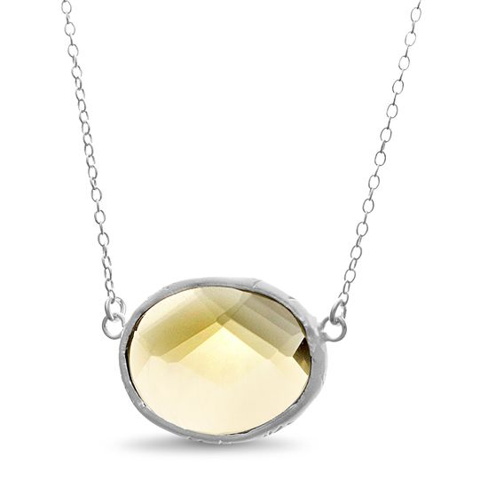 Picture of Sterling Silver Green Oval Checkerboard Quartz Necklace