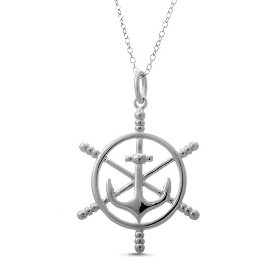 Imagen de Sterling Silver Chain Anchor and Ship Wheel Necklace