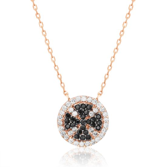 Imagen de Two-Tone Sterling Silver Cubic Zirconia Cross and Disc Cable Chain Necklace