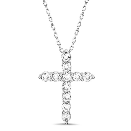 Picture of Sterling Silver Cubic Zirconia Texture Cross Pendant Cable Chain Necklace