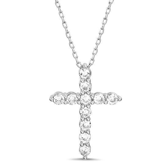 Imagen de Sterling Silver Cubic Zirconia Texture Cross Pendant Cable Chain Necklace