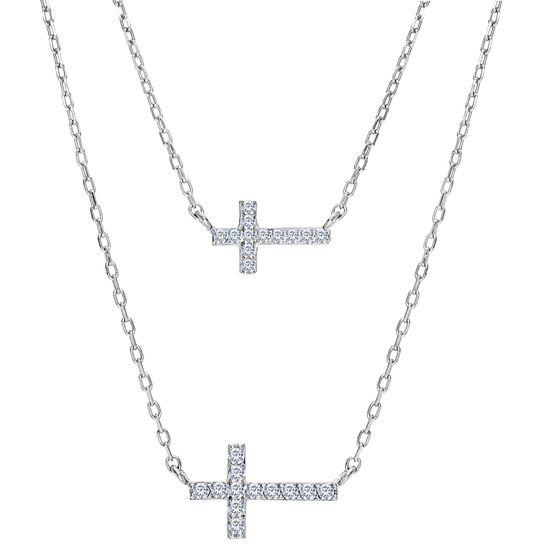 Imagen de Necklace Cubic Zirconia Double Sideways Cross in Rhodium over Brass