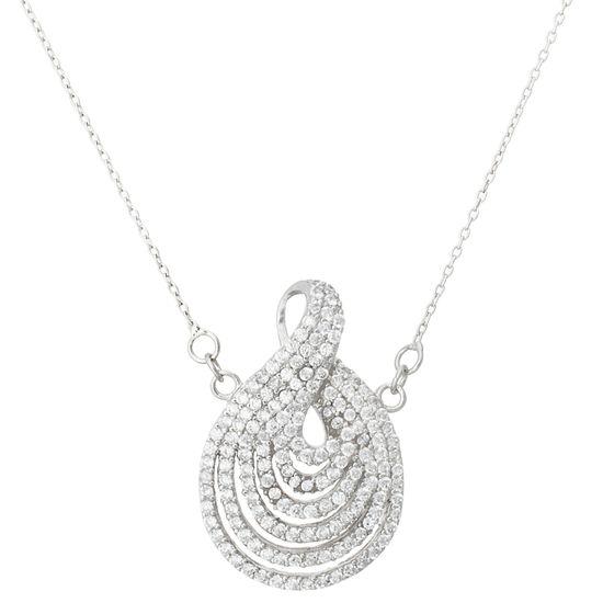 Imagen de Sterling Silver Cubic Zirconia Tear Drop Charm Design Necklace
