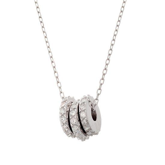 Imagen de Sterling Silver Cubic Zirconia Disc Charm Necklace