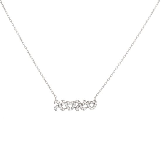 Picture of Cubic Zirconia XOXO Necklace in Sterling Silver
