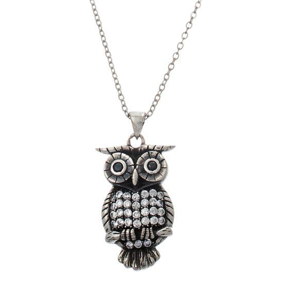 Imagen de Sterling Silver Cubic Zirconia Owl Pendant Cable Chain Necklace