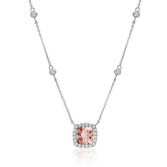 Imagen de Sterling Silver Square Halo Simulated Morganite/Clear Cubic Zirconia Pendant Cable Chain Necklace