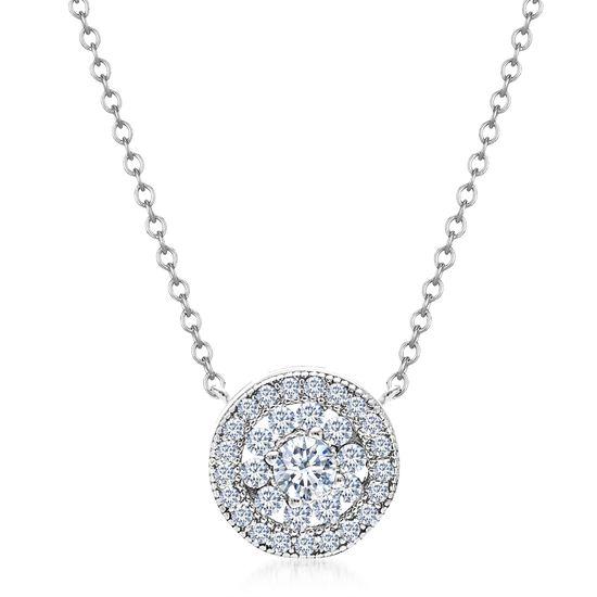 Imagen de Cubic Zirconia Circle Flower Halo Necklace in Rhodium over Sterling Silver