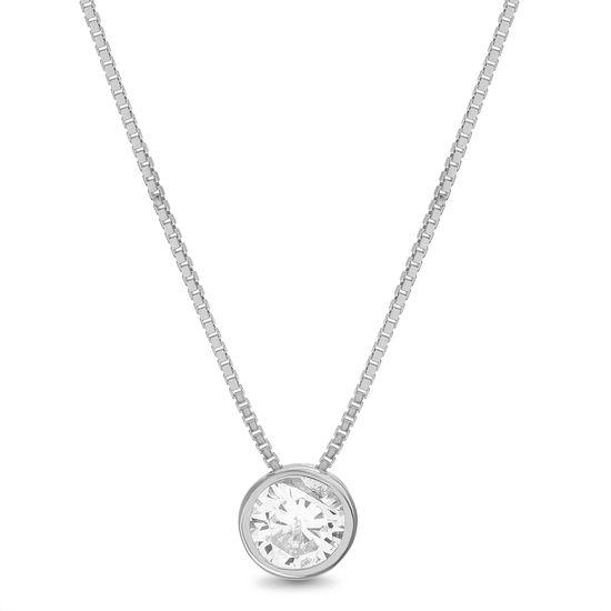 Imagen de Sterling Silver Stationed Baguette Bar Pendant Chain Necklace
