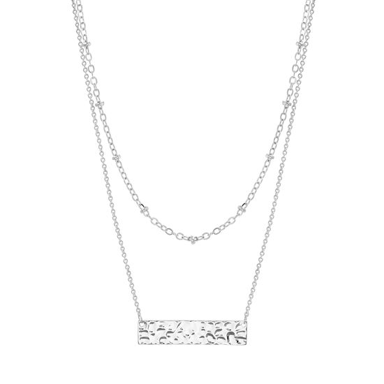 Imagen de Rhodium Plated brass Double Layered Ball & Hammered Bar Station Cable Chain Necklace