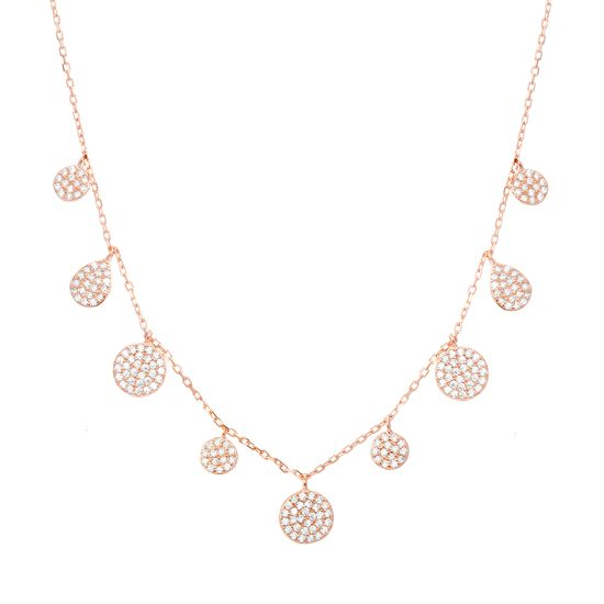 Picture of Sterling Silver Cubic Zirconia Pave Circles Cable Chain Necklace