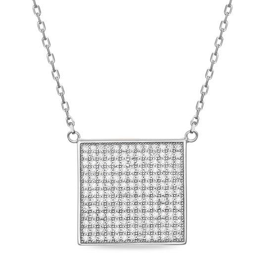 Imagen de Sterling Silver Cubic Zirconia Square 16 Necklace