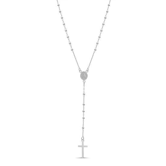 Imagen de Sterling Silver Bead  Rosary Necklace