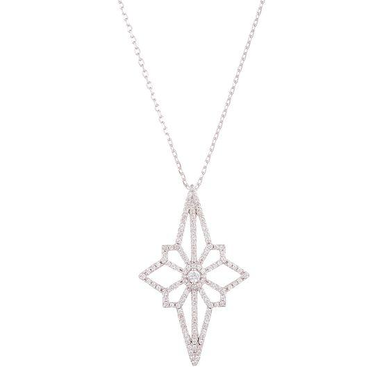 Imagen de Sterling Silver Cubic Zirconia North Star Pendant Necklace