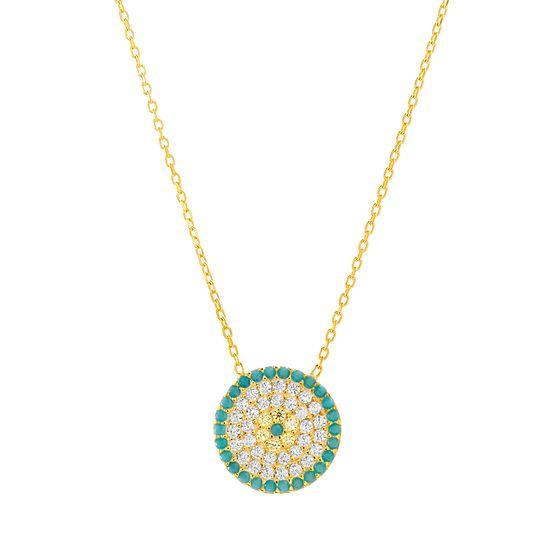 Imagen de Sterling Silver Pave Turquoise/Clear Cubic Zirconia Evil Eye Disc Pendant Cable Chain Necklace