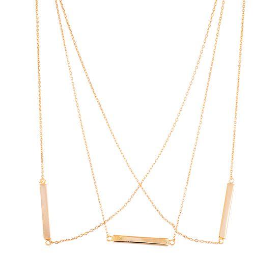 Imagen de Sterling Silver Triple Layer Rectangle Bars Necklace