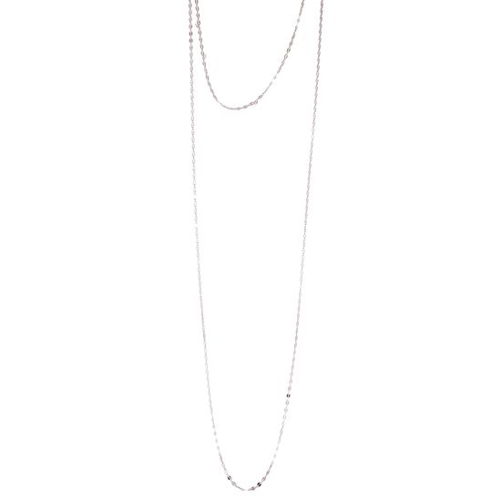 Imagen de Sterling Silver Flat Oval Link Double Layered Necklace