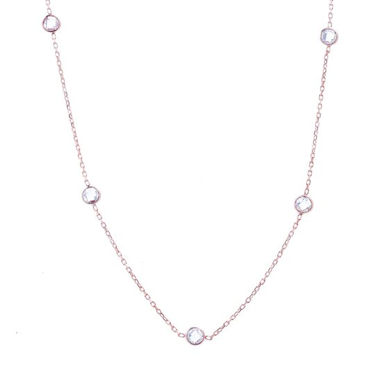 Imagen de Sterling Silver Cubic Zirconia 5MM Double-Sided Yard Chain Necklace