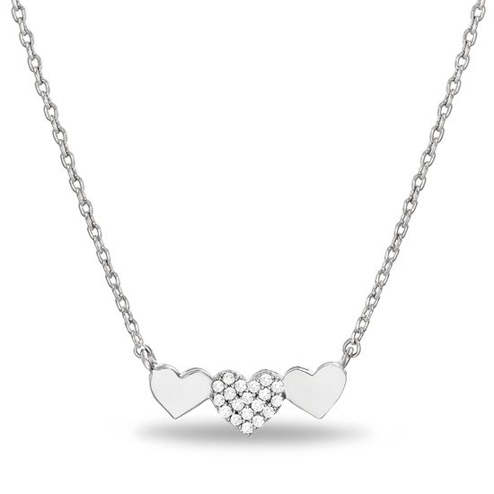 Imagen de Sterling Silver Cubic Zirconia Triple Heart Station Cable Chain Necklace