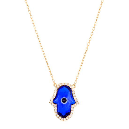Imagen de Sterling Silver Cubic Zirconia Navy Blue Glass Hamsa Necklace