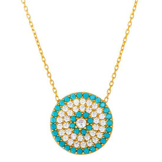 Imagen de Sterling Silver Cubic Zirconia Light Blue Round Evil Eye Necklace