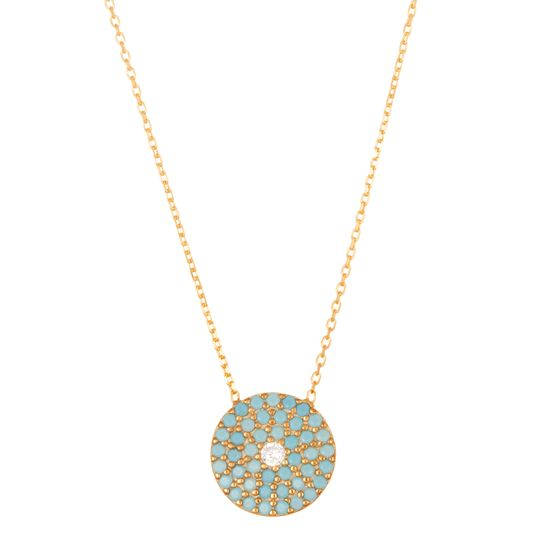 Imagen de Sterling Silver Cubic Zirconia Turquoise Pave Circle Disc with Clear Center Necklace