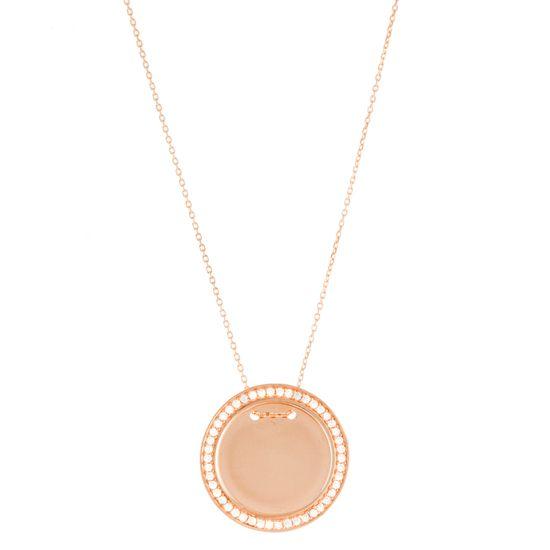 Imagen de Sterling Silver Cubic Zirconia Border 24mm Circle Necklace