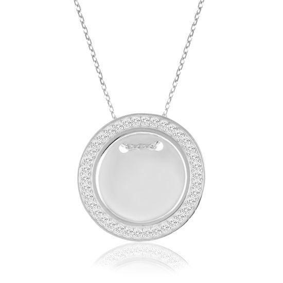 Imagen de Cubic Zirconia Border 20mm Circle Necklace in Sterling Silver