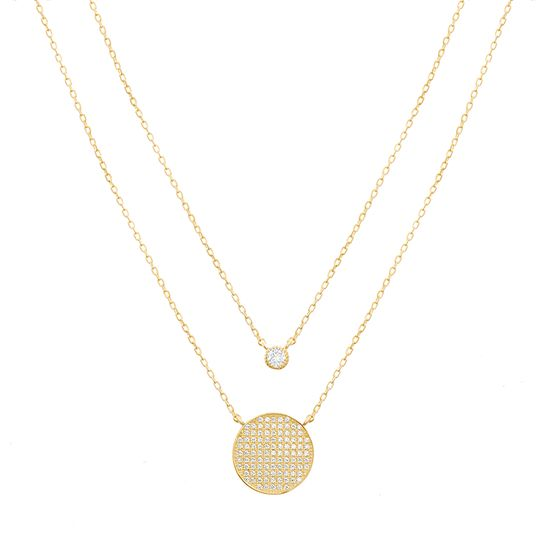 Imagen de STERLING SILVER GOLD CZ BEZEL & PAVE CIRCLE STATION ON 16+2 DOUBLE-LAYER CABLE CHAIN NECKLACE