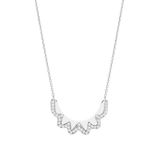 Imagen de Sterling Silver Cubic Zirconia Wavy Crescent Design Necklace