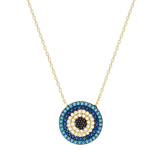 Imagen de Two-Tone Sterling Silver Turquoise Blue Yellow Clear Black Cubic Zirconia Station Evil Eye Cable Chain Necklace