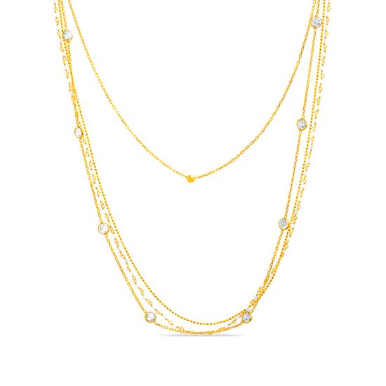 Imagen de Sterling Silver Cubic Zirconia and Pearl Triple Strand Necklace
