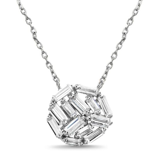 Imagen de Sterling Silver Baguette Cubic Zirconia Ball Pendant 16 Cable Chain Necklace
