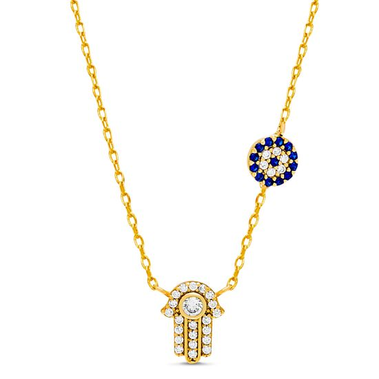 Picture of Sterling Silver White and Royal Blue Cubic Zirconia Evil Eye Charm and Hamsa Pendant Cable Necklace
