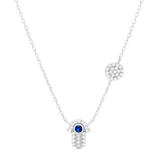 Imagen de Sterling Silver Blue/Clear Cubic Zirconia Station Hamsa Hand Pendant and Disc Charm 16+2 Cable Chain Necklace