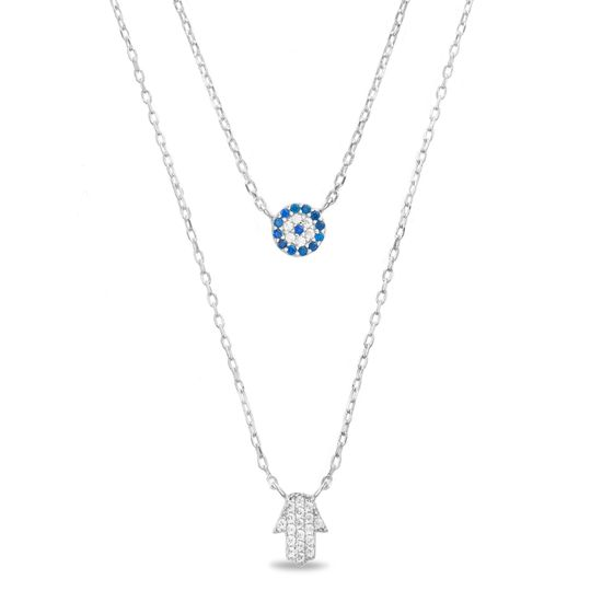 Imagen de Two-Tone Sterling Silver Blue/Clear Cubic Zirconia Hamsa Hand Evil Eye Double Layered Cable Chain Necklace