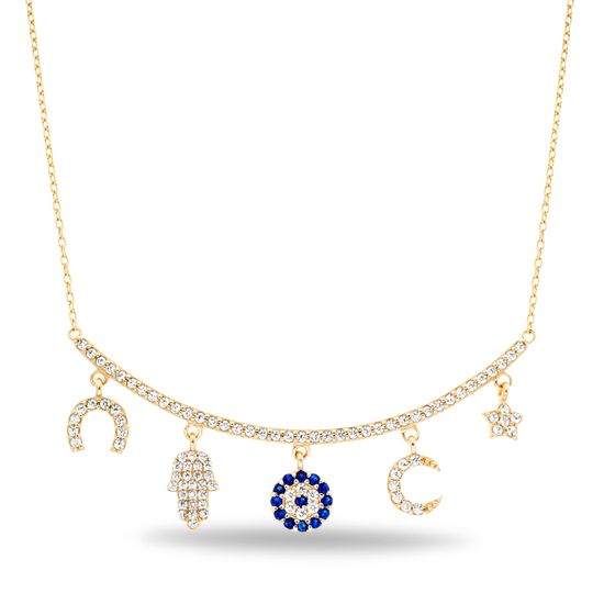 Imagen de Sterling Silver Cubic Zirconia Curved Bar with Dangling Horseshoe Hamsa Evil eye Charms Necklace