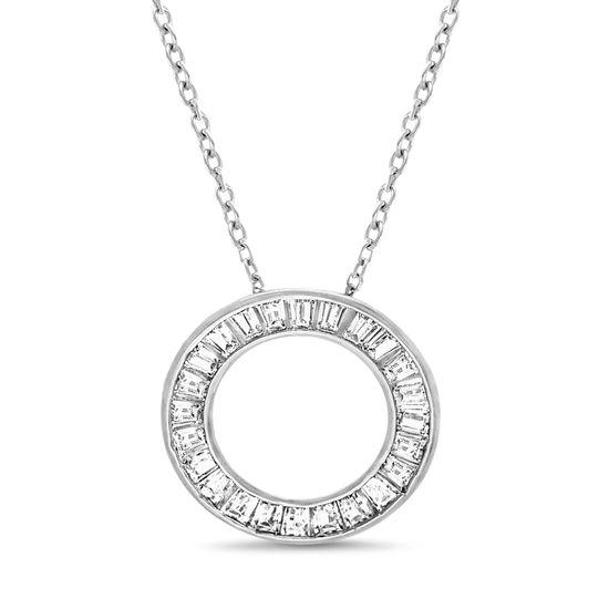 Imagen de Sterling Silver with Cubic Zirconia Baguette Open Circle Necklace
