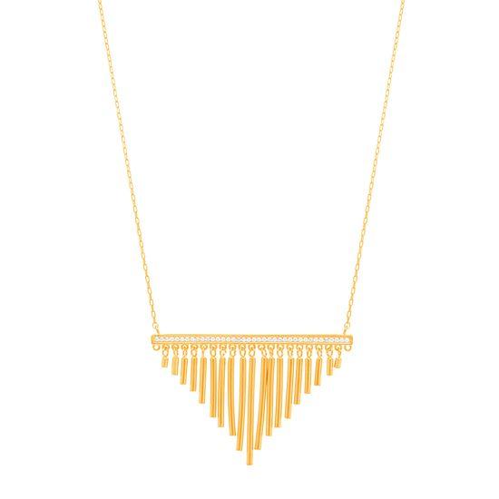 Imagen de Sterling Silver  Cubic Zirconia Bar with Dangling Bars Necklace