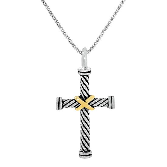 Imagen de Two-Tone Sterling Silver Textured Cross on Popcorn Chain Necklace