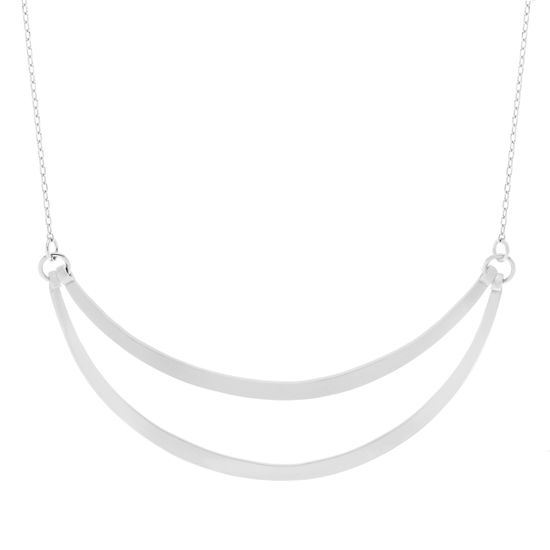 Imagen de Sterling Silver Textured and Polished Double Curved Bar Necklace