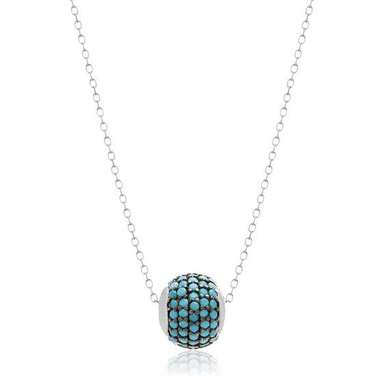 Imagen de Sterling Silver Turquoise Cubic Zirconia Circle Necklace