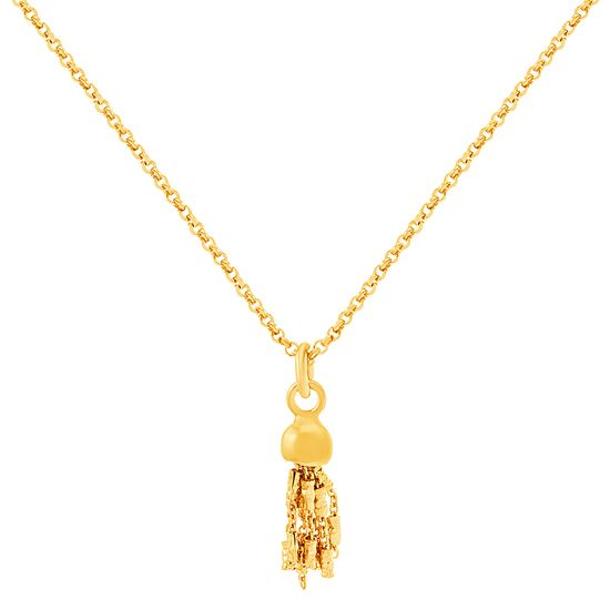 Imagen de Sterling Silver  With Tassel Charm Cable Chain Necklace